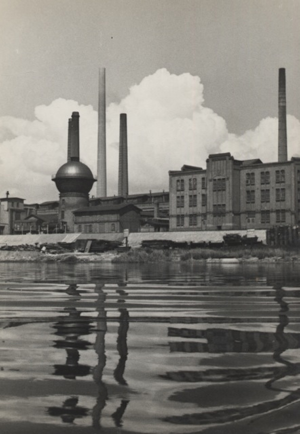Factory at the Riverside, 1943 9.5 x 7 inches vintage silver print