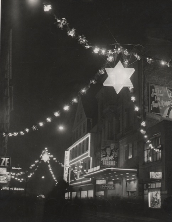 Street at Night with Dancing Stars, 1952 9.5 x 7 inches vintage silver print