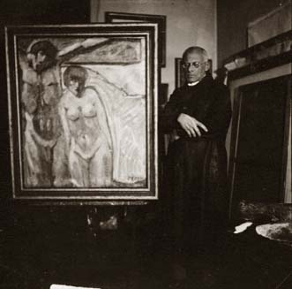 Nikodem in His Studio with Painting, c. 1930 Vintage silver print 2.5 x 2.5 inches