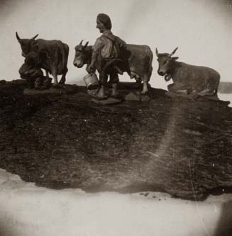 Composition, Man and Cow Miniatures, c. 1925 Vintage silver print 2.5 x 2.5 inches