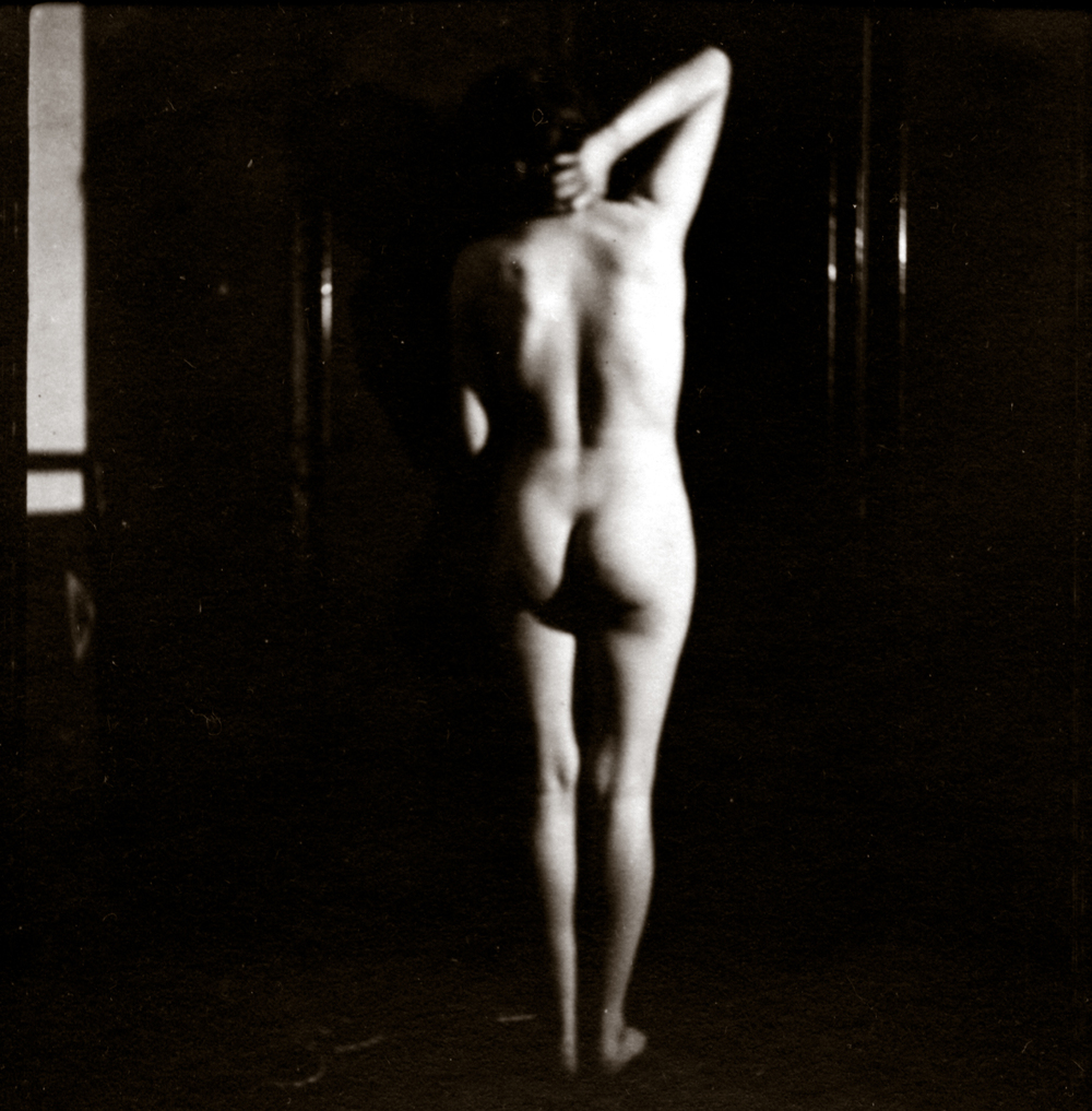 Barbara, Standing Nude from the Back, c. mid-1920's Vintage silver print 2.5 x 2.25 inches