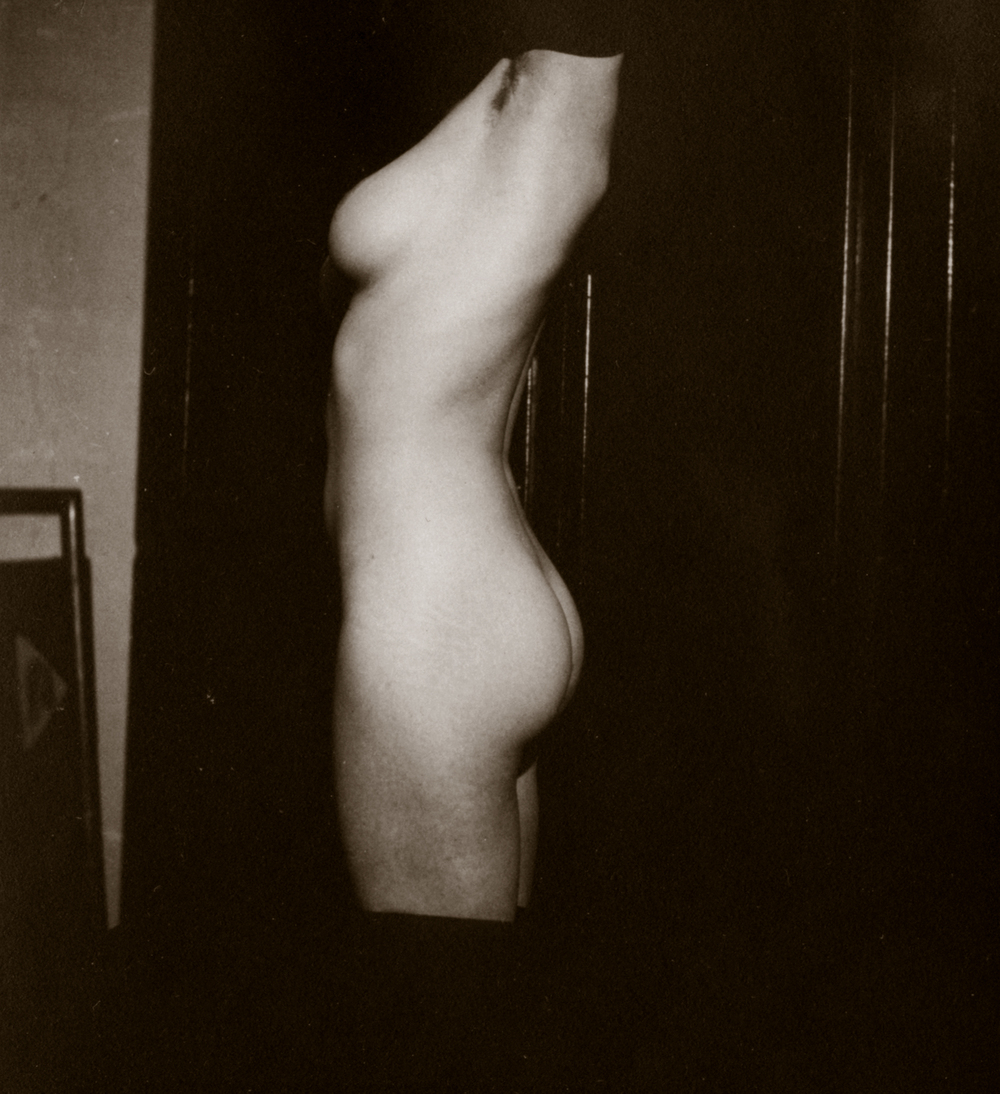 Standing Nude, Side View of Torso, c. mid-1920's Vintage silver print 2.5 x 2.25 inches