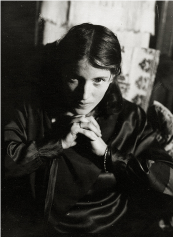 Barbara, Hands Folded Under Chin, c. 1930 Vintage silver print 5.25 x 3.5 inches