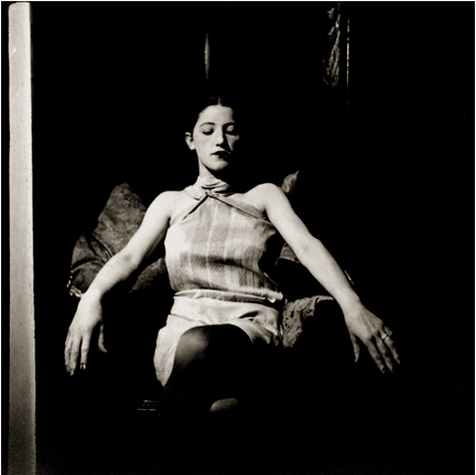 Untitled (Barbara Sitting in Chair, eyes closed), c. 1930 Vintage silver print 2.5 x 2.5 inches