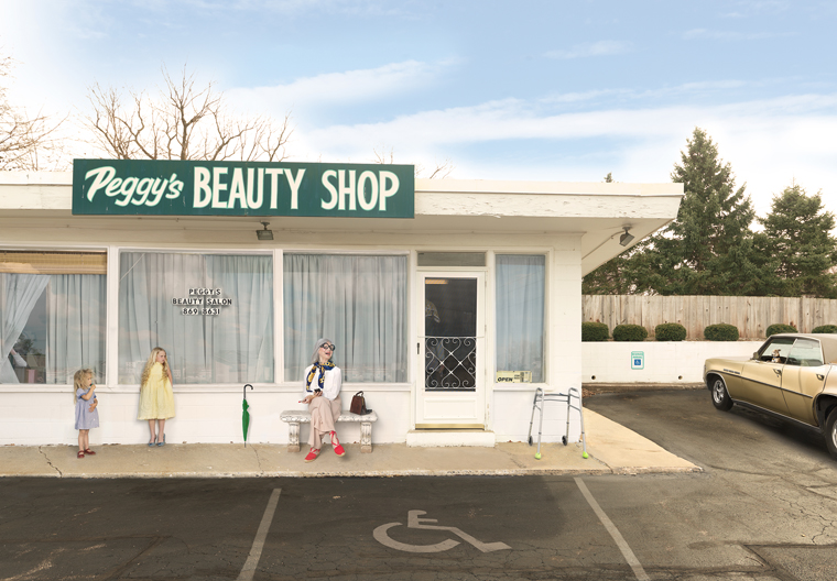 Julie Blackmon Peggy's Beauty Shop, 2015 26 x 35.75 inches (edition of 15) 36 x 50 inches (edition of 10) 44 x 61.5 inches (edition of 5) archival pigment print