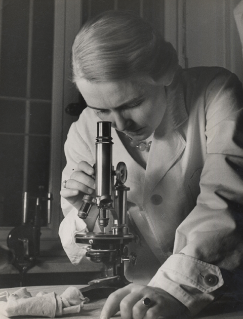 Untitled (woman with microscope), 1934 9 x 7 inches vintage silver print