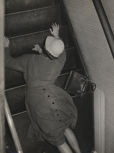 Untitled (down stairs), c. 1948 9.5 x 7 inches vintage silver print