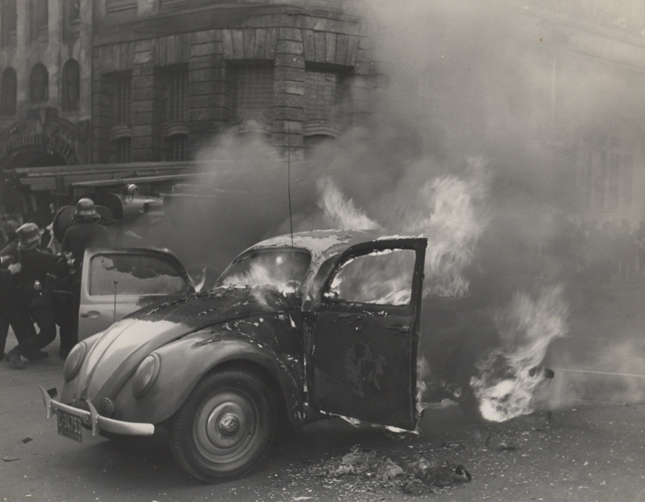Untitled (burning car), c. 1947-48 7 x 9 inches vintage silver print