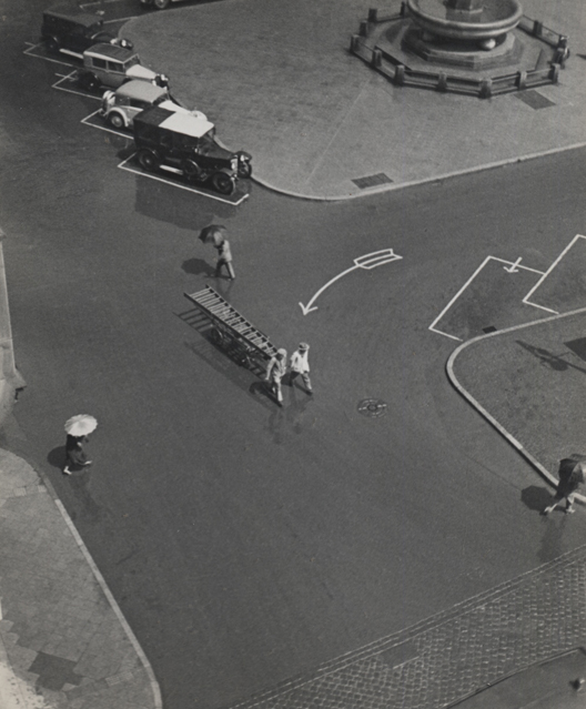 Untitled (street from above), 1931 9 x 7 inches vintage silver print