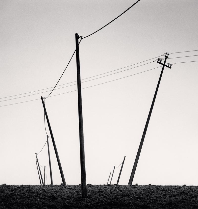 Ten Slanted Poles, Castilenti, Abruzzo, Italy, 2015 8.25 x 7.75 inches toned silver print