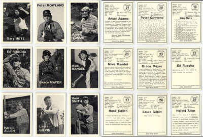 Mike Mandel    Untitled (Baseball - Photographer Trading Cards) , 1975  Complete set of 135 cards (134 images, 1 card of text)