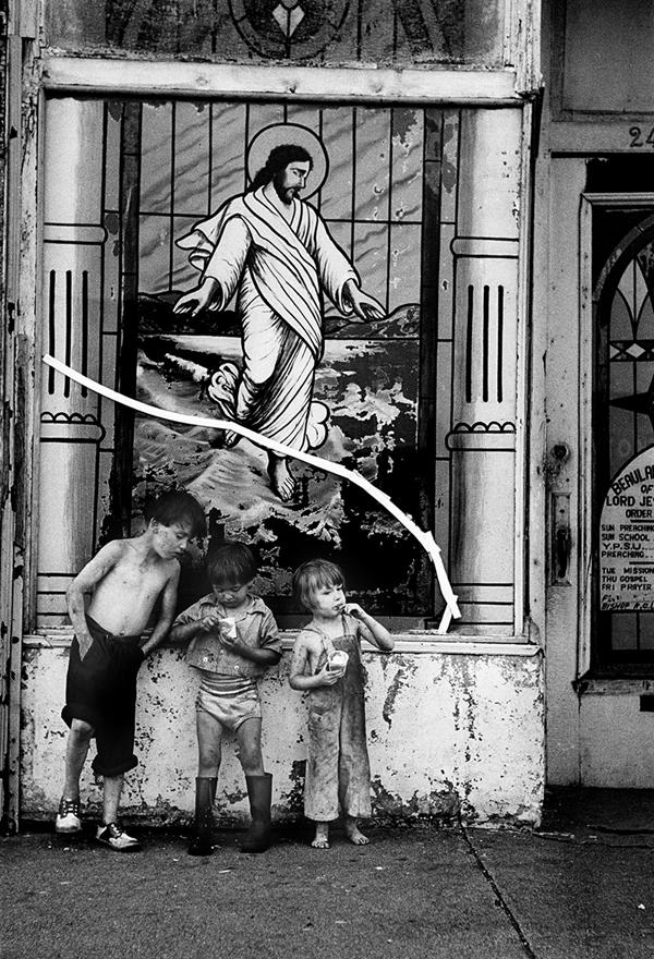 Harold Feinstein     Storefront Christ & Children, NYC,  1951  Gelatin silver print  14 x 11 inches  Edition of 200
