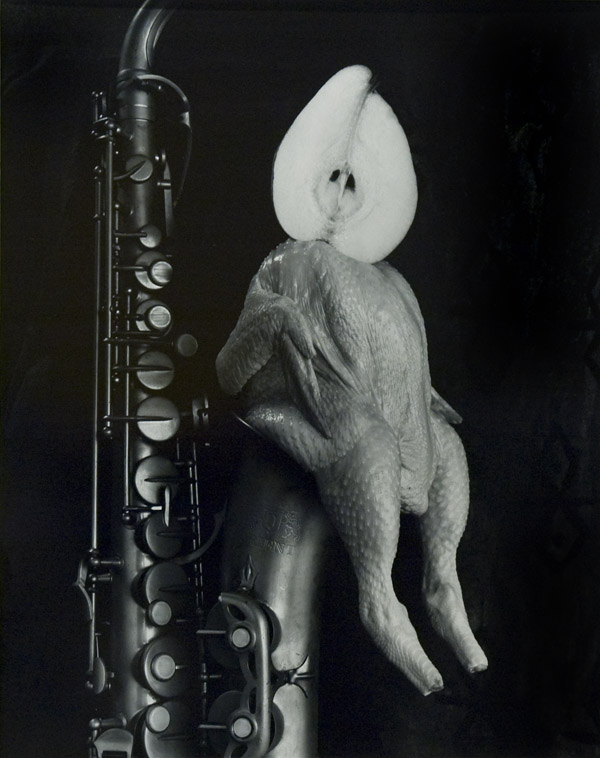 Chicken, Pear and Saxophone , 1996  silver print  24 x 20 inches