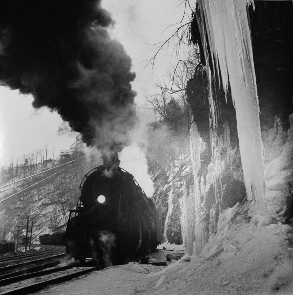 NW2222 Y-6 Locomotive and Icicles at the Massey Mine, WV, March 16 , 1960  Silver print  20 x 16 inches