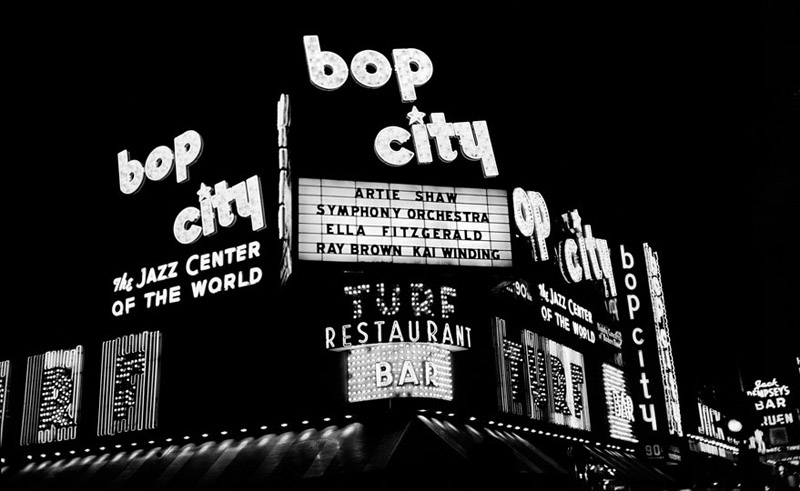 Herman Leonard    Bop City, NYC , 1953  Silver print  16 x 20 inches  Edition of 50