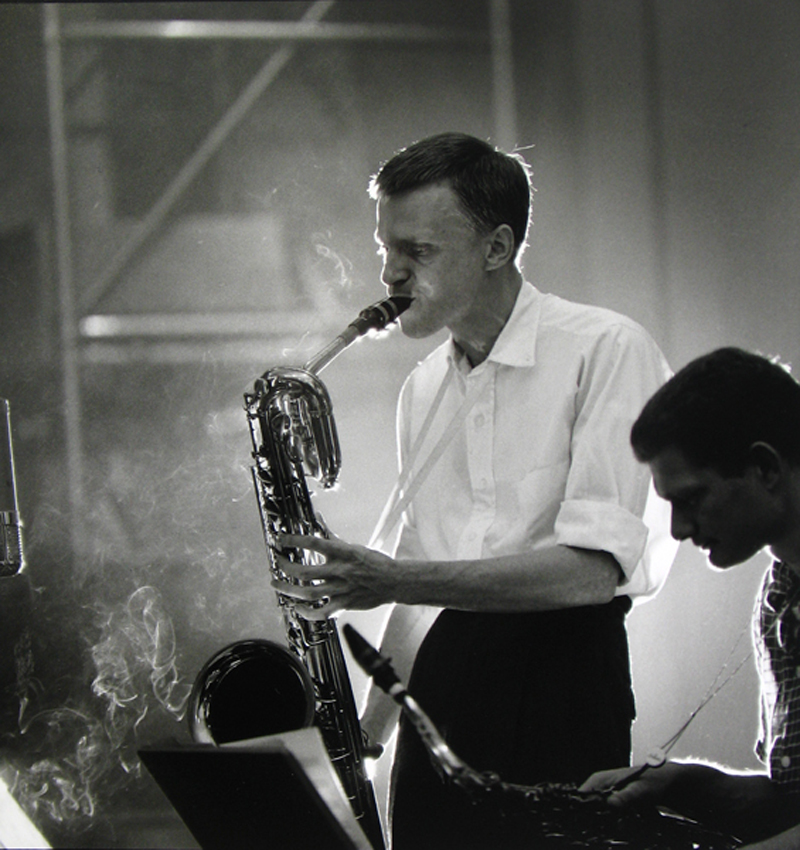 Gerry Mulligan and Zoot Sims, NYC , 1955  Silver print  20 x 16 inches  Edition of 30