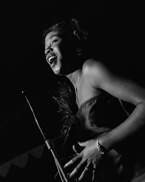 Sarah Vaughan, Birdland, NYC , 1949  Silver print  20 x 16 inches  Edition of 30