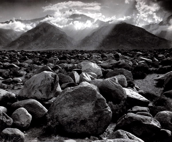 Mount Williamson, Sierra Nevada, from Manzanar, CA , 1944  Silver print  15.5 x 19.5 inches