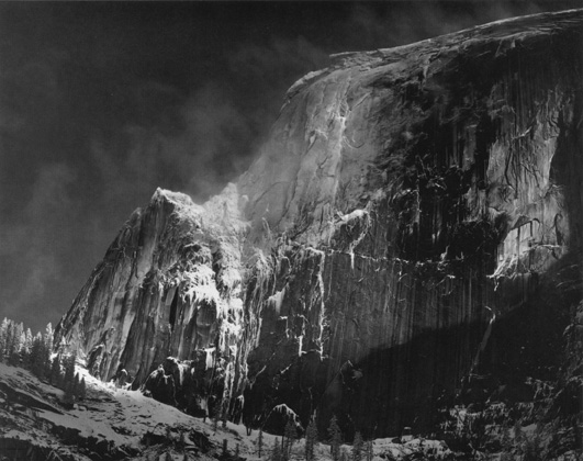 Half Dome, Blowing Snow, Yosemite National Park, CA, c. 1955   Silver print  15.5 x 19.5 inches