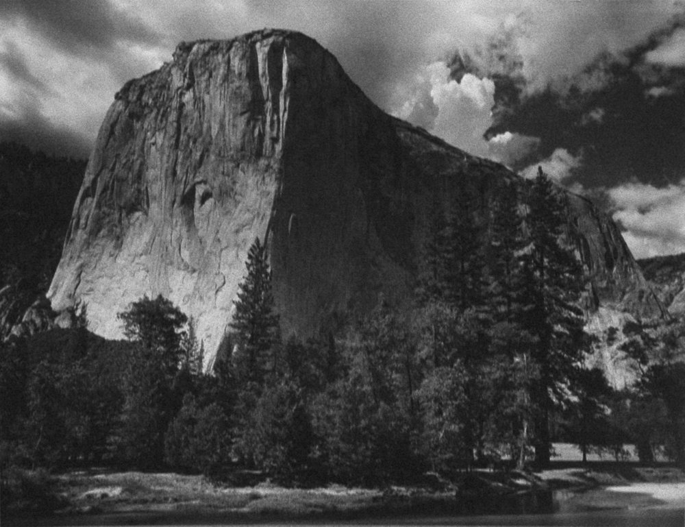 El Capitan and the Merced River, Yosemite National Park, CA , 1930's  Early silver print  7.25 x 9.5 inches