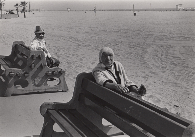 Untitled (People on benches), Venice, CA , c. 1970's  Vintage silver print  8 x 10 inches