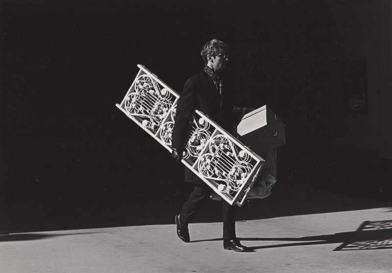 Untitled (Man carrying screen)   Vintage silver print  8 x 10 inches