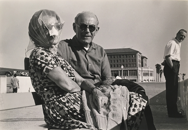 Untitled #4 (older couple on a bench)   Vintage silver print mounted to board  6.5 x 9.5 inches