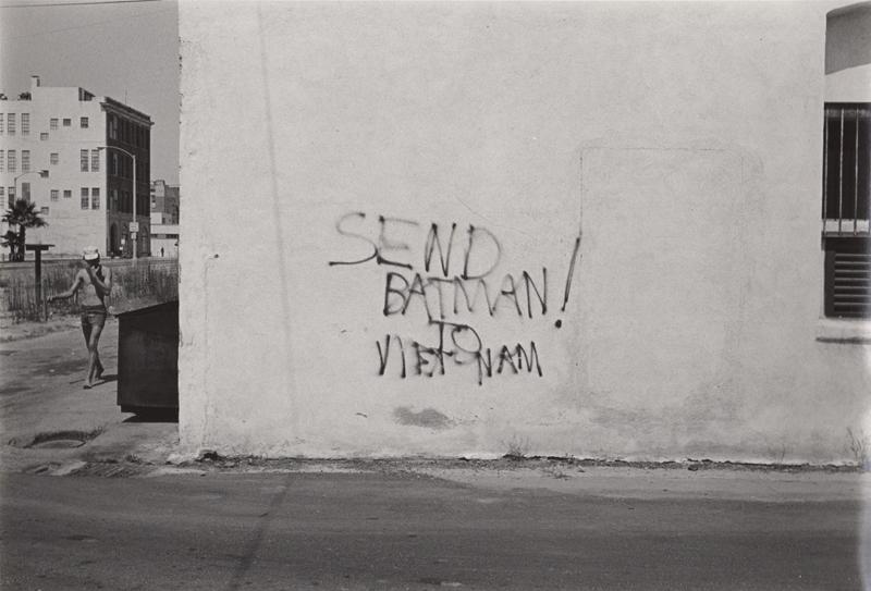 Ed Sievers   Untitled (Send Batman to Vietnam) , c. 1970's Vintage silver print 8 x 10 inches
