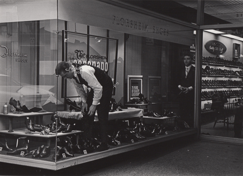 Ed Sievers   Untitled (shoe store window) , c. 1960's Vintage silver print 8 x 10 inches