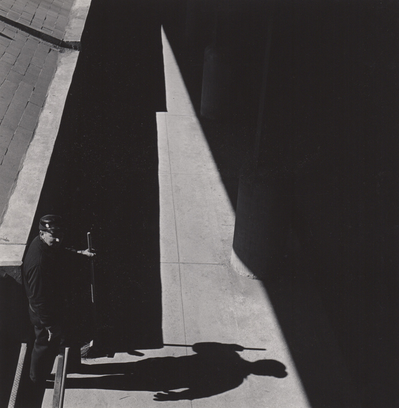 Ed Sievers   Untitled (man with broom) , c. 1960's Vintage silver print 10 x 8 inches