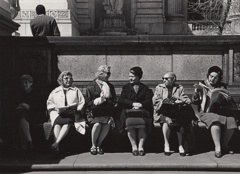 Ed Sievers   Untitled (six women on bench), New York City , c. 1960's Vintage silver print 8 x 10 inches