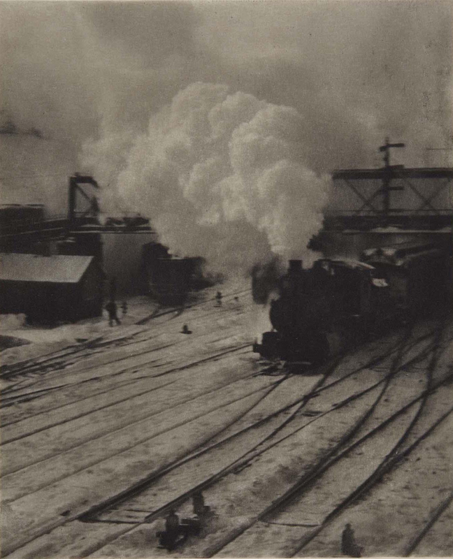 Alfred Stieglitz    In New York Central Yards (1903) , 1911  Photogravure  8 x 6.25 inches  Published in Camera Work Vol. 36, 1911