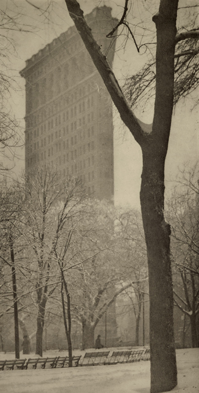 """Alfred Stieglitz    The """"Flat-iron"""" , 1903  Photogravure  6.5 x 3.25 inches  Published in Camera Work Vol. 4, 1903"""