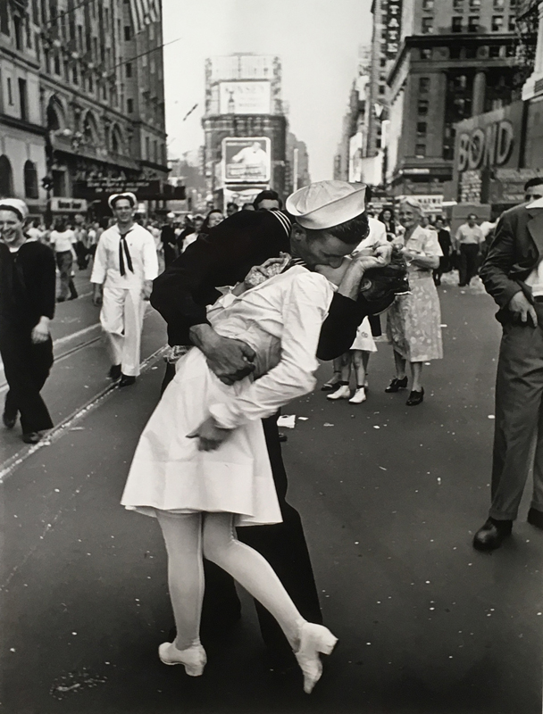 Alfred Eisenstaedt    VJ Day in Times Square , August 14, 1945  Silver print  19.875 x 16 inches
