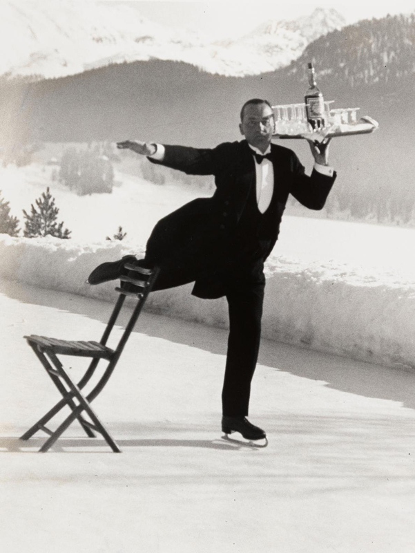 Alfred Eisenstaedt    Ice Skating Waiter, Grand Hotel, St. Moritz , 1932  Silver print  20 x 16 inches  Edition of 250
