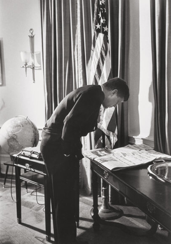 Alfred Eisenstaedt    President Kennedy in Oval Office , 1961  Silver print  20 x 16 inches  Edition of 250