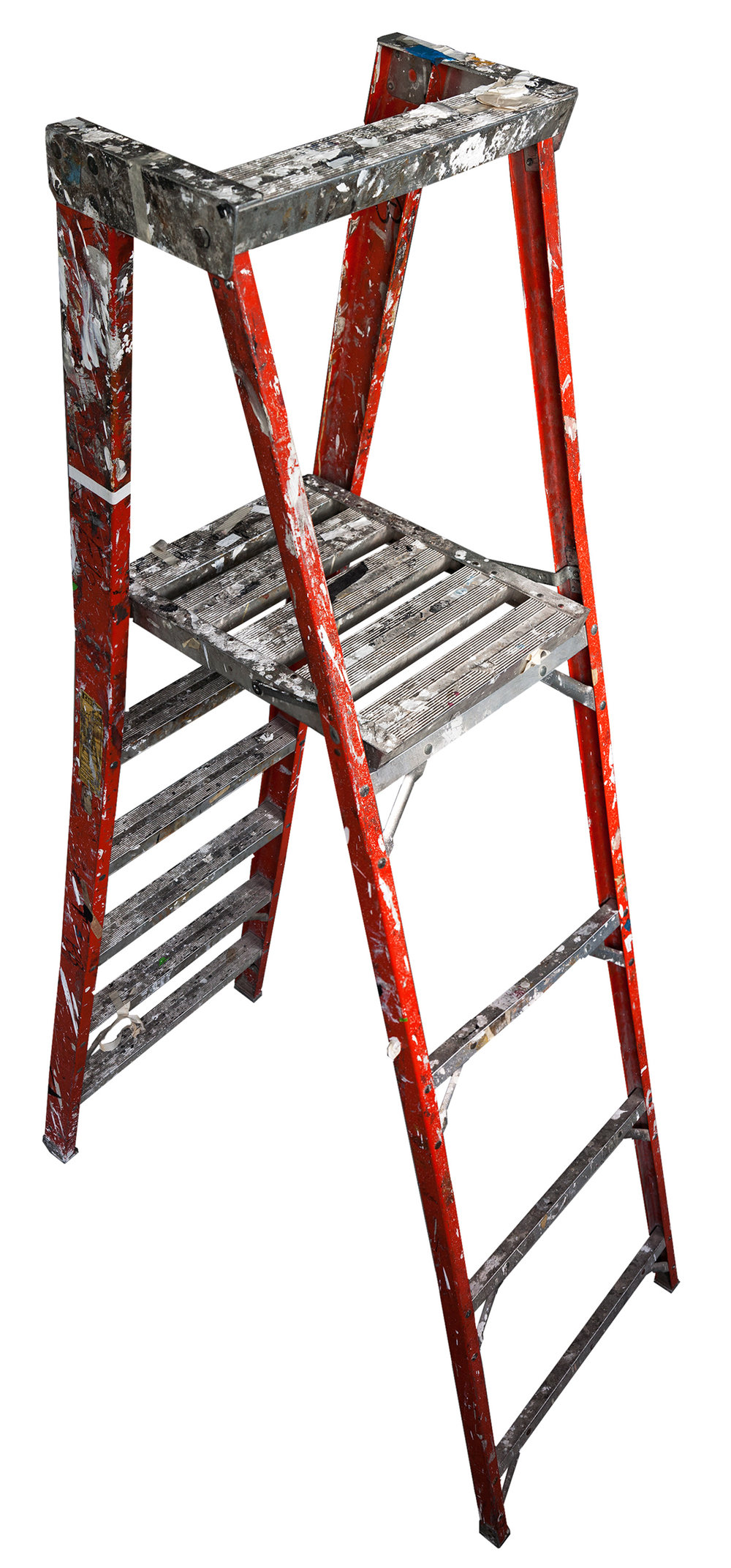 Large Folding Ladder: Orange with Platform Open , 2012  Pigment ink on Photo-Tex paper with foamcore and acrylic paint  99 x 42 inches