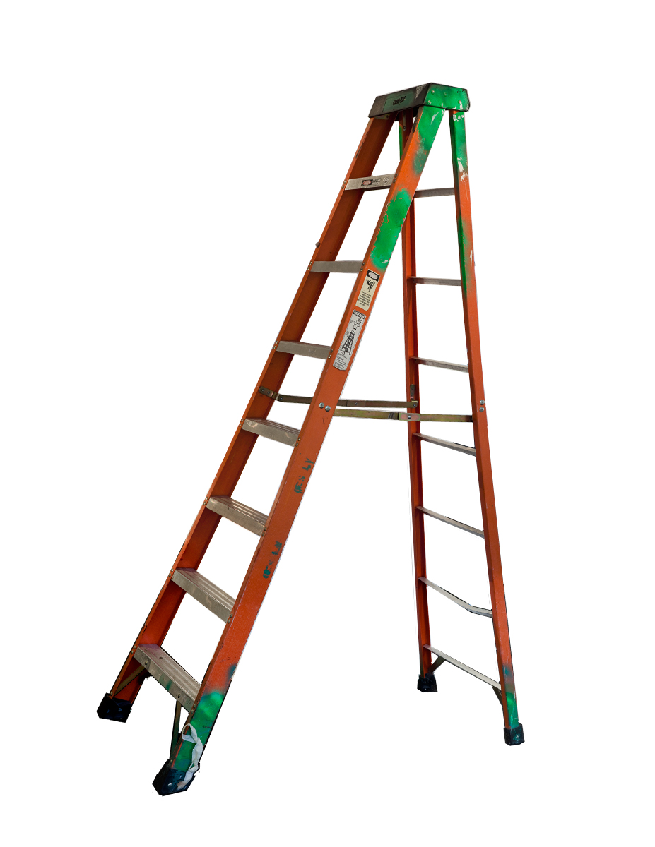 Large Orange Folding Ladder with Black Top and Green Paint , 2013  Pigment ink on Photo-Tex paper  100 x 60 inches  Edition of 10