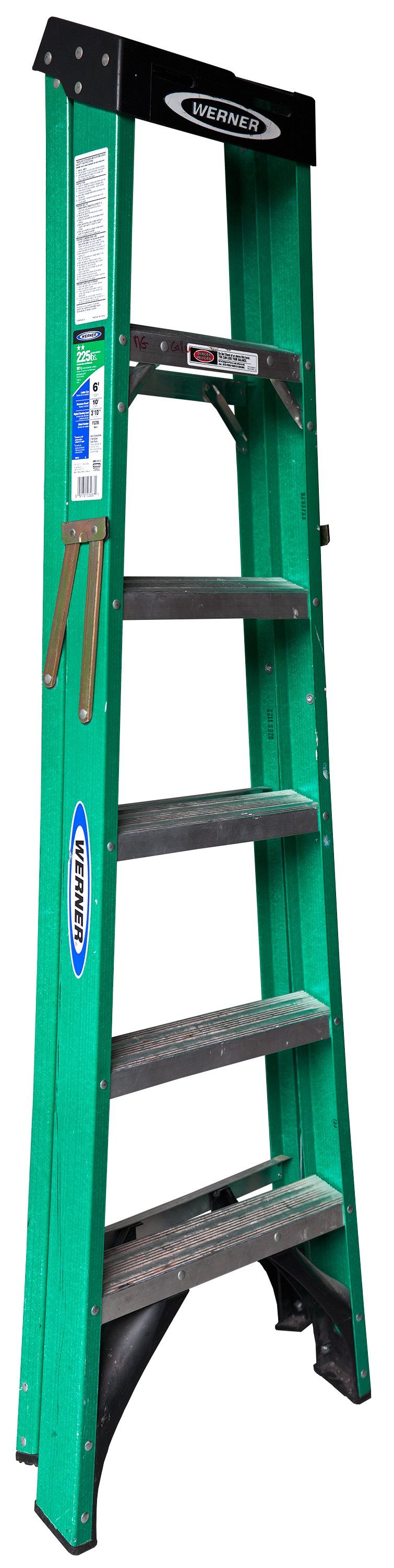 Medium Folding Ladder: Green with Black Top , 2012  Pigment ink on Photo-Tex paper with foamcore and acrylic paint  70 x 17 inches