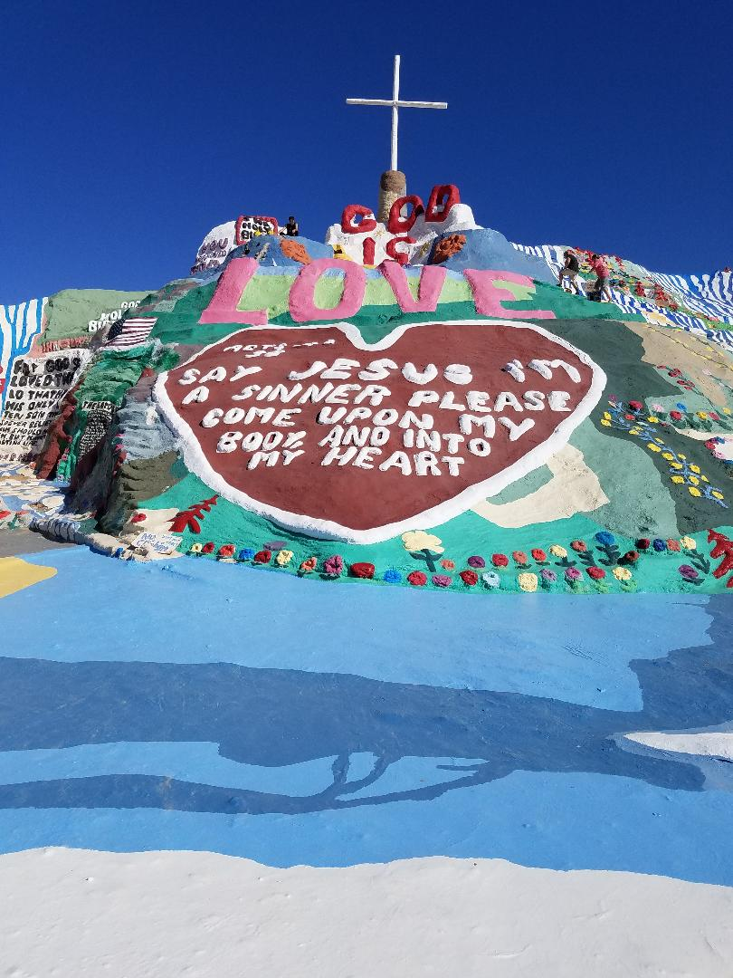 The face of Salvation Mountain
