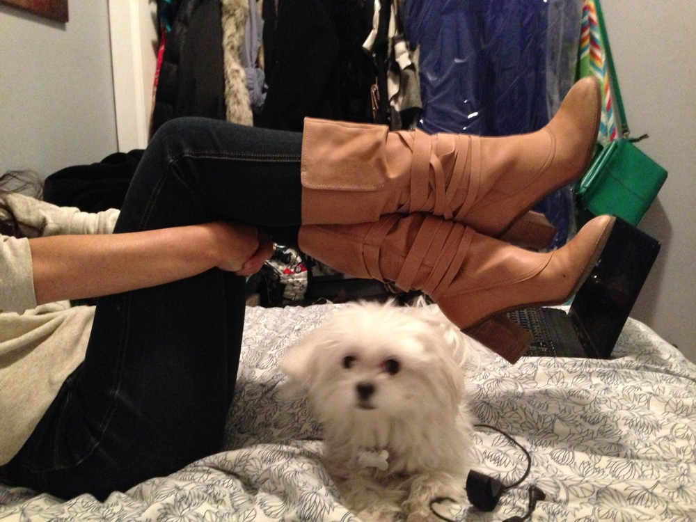 $5 boots, modeled next to my four-legged BFF