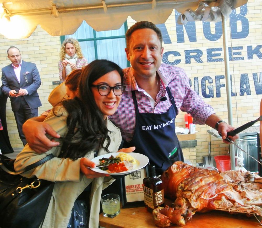 Getting served some pig roast by Food Network's Pat LaFrieda.