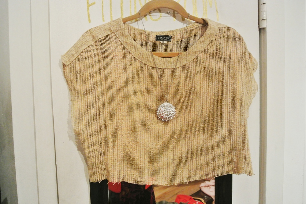 Burlap crop top, $8