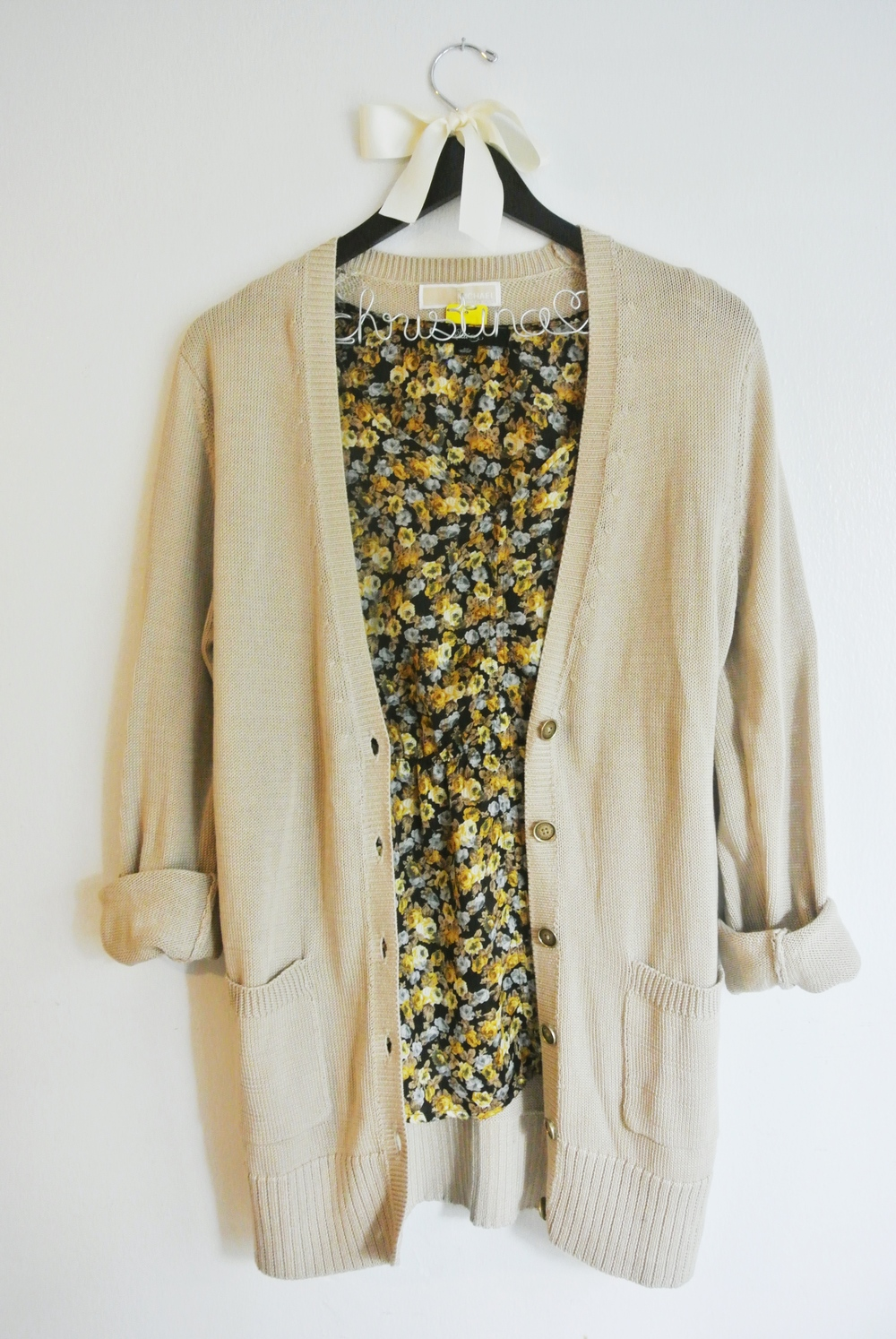 Michael Kors cardigan (styled with floral blouse from ClosetDash)