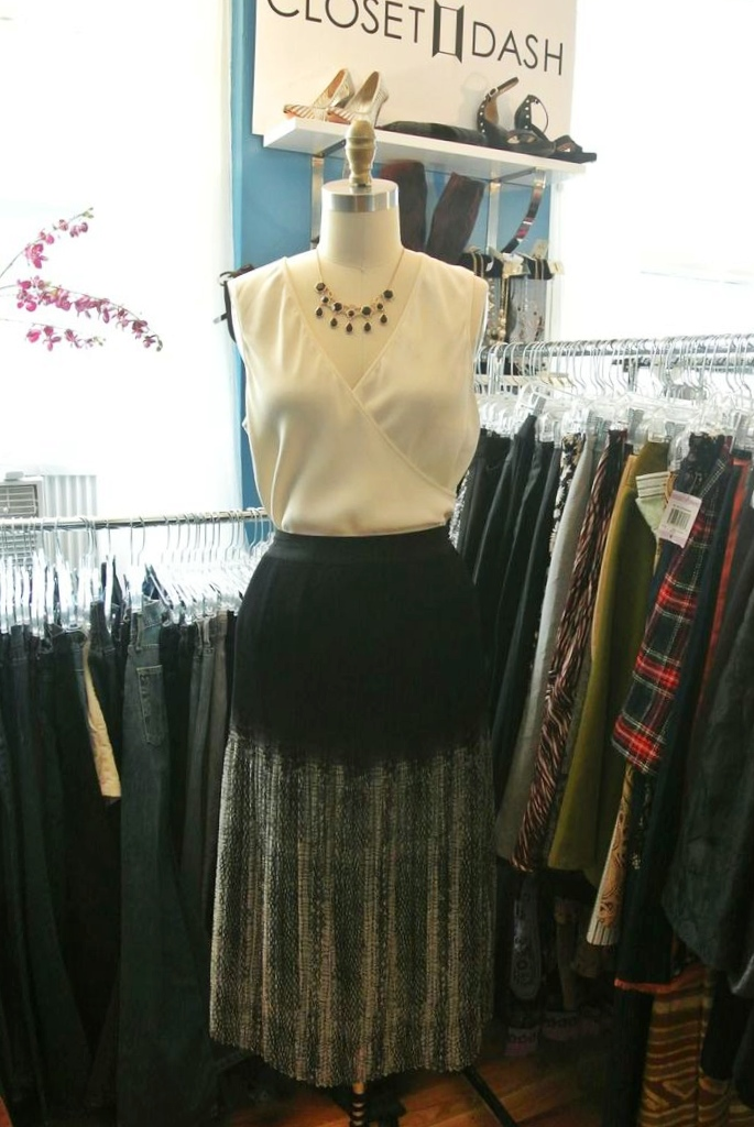 Ecote skirt ($21.99), Burberry top ($40)