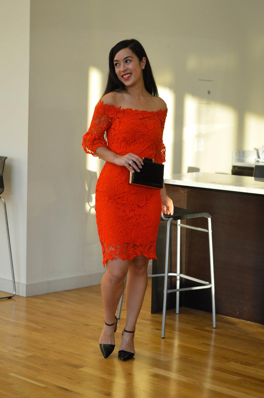 shein red dress