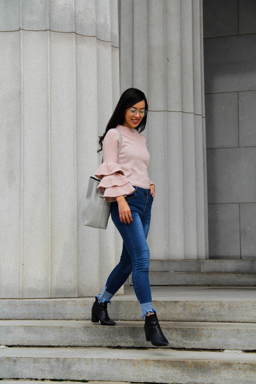 shein ruffled sleeve sweater