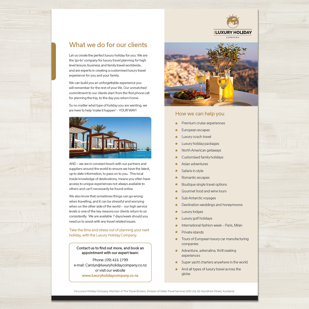 The Luxury Holiday Company | A4 Flyer from Presentation Pack