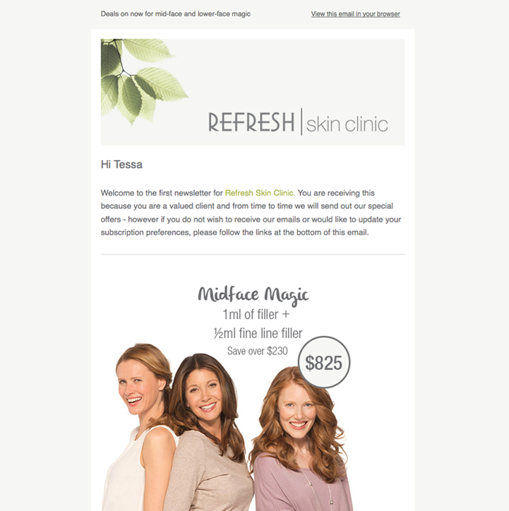 Refresh Skin Clinic Email Campaign
