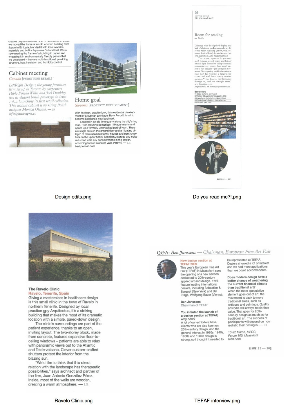 Four pieces for Monocle, featured in the art, culture and design sections. Click image to open PDF.
